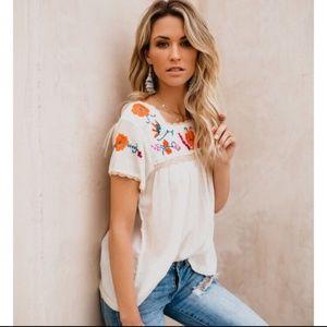 Vici embroidered boho blouse
